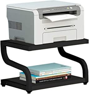 Desktop Shelf for Printer, Double Tier Desktop Printer Stand with Non- Slip Pads, Multipurpose Storage Shelf for Home & Office, Desk Organizer for Printer/Microwave Oven/Books/Plants (Black)