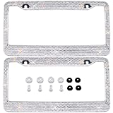 Bling Bling License Plate Frames 2 PACK - Pure Handmade Waterproof Glitter Rhinestones Crystal White License plate Frame for Cars with 2 Holes Bonus Matching Screws Caps Set