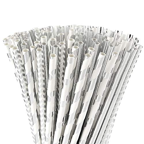 ALINK Biodegradable Silver Paper Straws Bulk, Pack of 100 Metallic Foil Striped/Wave/Dots Straws for Birthday, Wedding, Bridal/Baby Shower, Celebrations and Party Supplies -