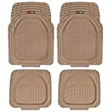 Automotive : Motor Trend FlexTough Tortoise - Heavy Duty Rubber Floor Mats for Car SUV Van & Truck - All Weather Protection - Deep Dish (Tan Beige)