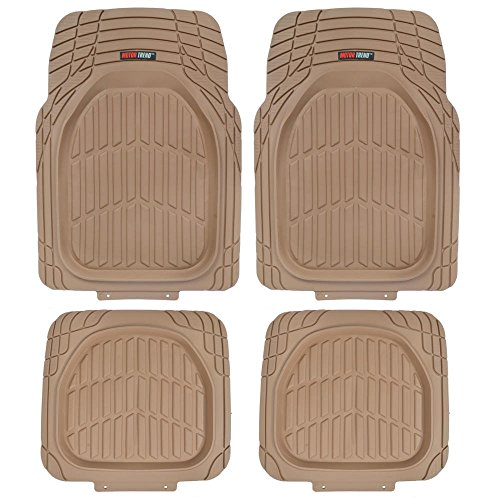 Motor Trend MT-921-BG FlexTough Tortoise-Heavy Duty Rubber Floor Mats for All Weather Protection-Deep Dish, Beige