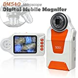 inDigi DigiMag540-05 Portable Wireless Digital Microscope (10X-500X Magnification-4X Leds-Adjustable Focus-2.7'' LCD), White/Orange, Handheld