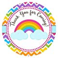 Rainbow Thank You Sticker Labels - Girl Children Birthday Baby Shower Party Supplies - Set of 30