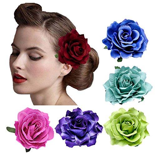 DRESHOW 5 Pack Flower Brooch Head Ornament Bride Women Rose Flower Hair Accessories Wedding Hair Clip Flamenco Dancer]()