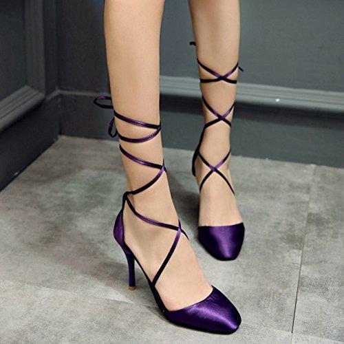 COOLCEPT Mujer Moda Cordones Sandalias Cerrado Tacon de Aguja Zapatos Purpura