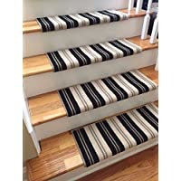 (31 Wide, Wall Street)(Sold Each) 100% New Zealand Wool Authentic Handmade Wool TRUE Bullnose Carpet Stair Tread Runner Replacement for Dog, Cat, Pet, Style, Comfort and Safety
