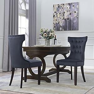 Amazon.com - Belleze Set of 2, Black Premium Dining Chairs Side Room ...