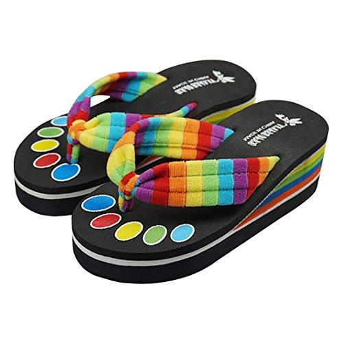 Agatha Garcia Women's Summer Rainbow Striped Creeper EVA Flip-Flops