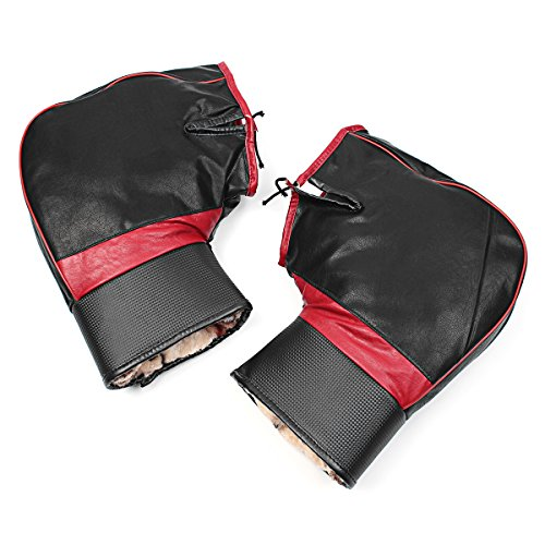 HITSAN PU Leather Warm Covers Motorcycle Handlebar Muffs Snowmobile Waterproof Winter Hand Gloves One Piece