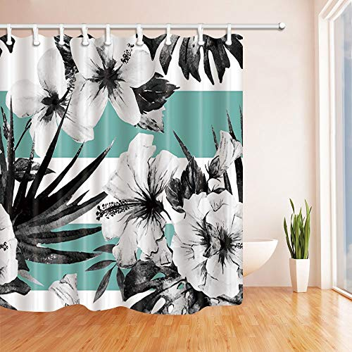 Rrfwq Black and White Hibiscus Flowers in Sapphire Blue Decor Polyester Fabric Shower Curtain Set Fantastic Decorations Bath Curtain 70.8 X 70.8 inches