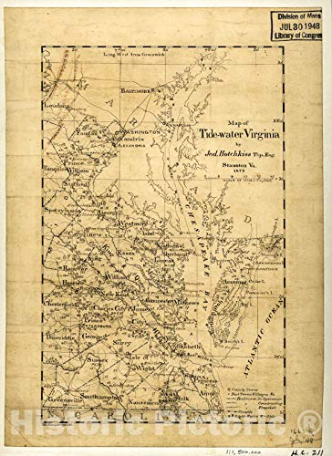 Historic 1873 Map - Map of Tide-Water Virginia 32in x 44in (Map Of The Tidewater Region Of Virginia)