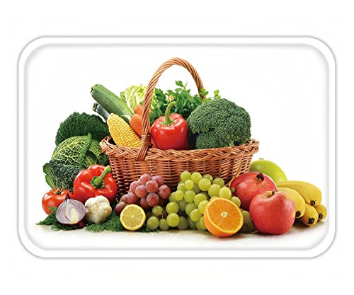 Beshowere Doormat composition with vegetables and fruits in wicker basket isolated on white
