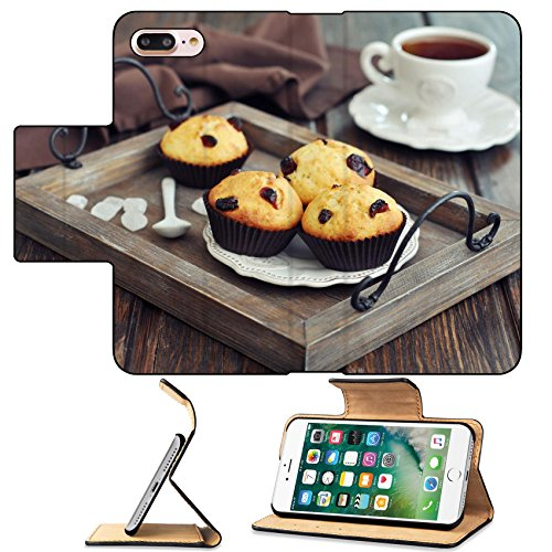 MSD Premium Apple iPhone 7 Plus Flip Pu Leather Wallet Case Muffins with dried cranberry on vintage wooden tray closeup IMAGE 24750077