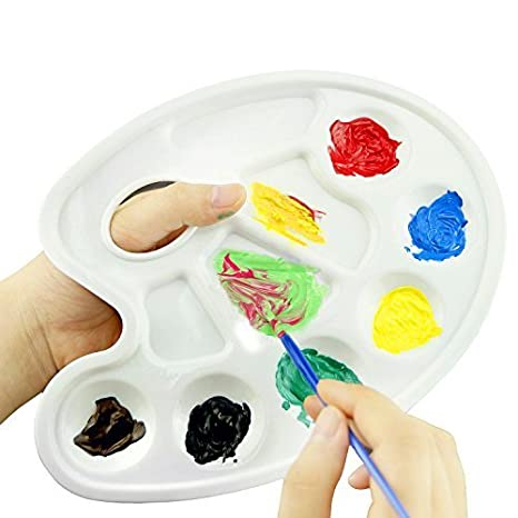 Amazon.com: JMAF 6 Pack Bandeja de Pintura Paleta Artista Plástico paletas de pintura para pintar - 10 Pozos con agujero para pulgar (Blanco)