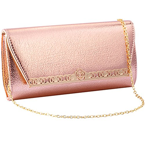 Womens Evening Clutch Wedding Purse Party Bag Bridal Prom Handbag shoulder bag (ROSE (Bag Bridal Purse)