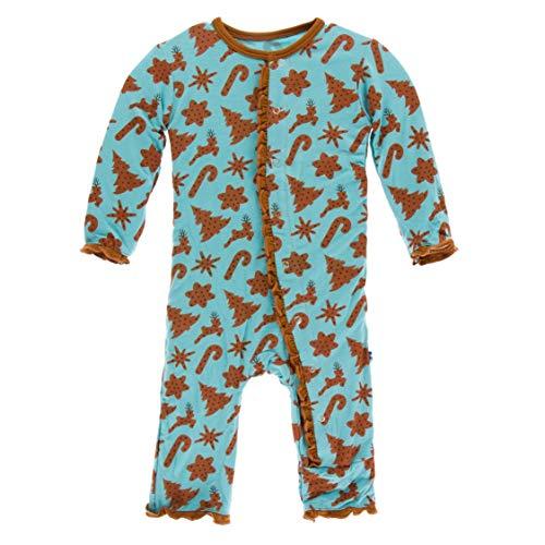Kickee Pants Little Girls Print Layette Classic Ruffle Coverall with Zipper (Christmas Cookies, Newborn) ()