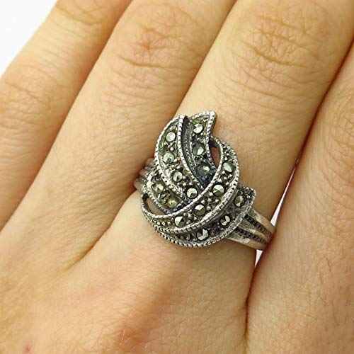 925 Sterling Silver Real Marcasite Gemstone Abstract Design Wide Ring Size 7 Jewelry by Wholesale Charms