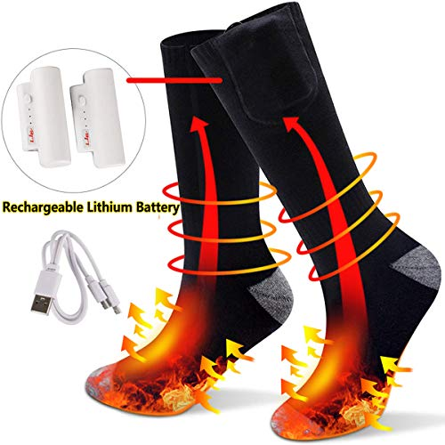 Heated Socks, 3.7 V Electric USB Rechargeable Battery Boot Socks with 3 Speed Temperature Control Warm Winter Fast Heating Thermal Socks for Women Men Sports Outdoor Camping Hiking (USB Charger)