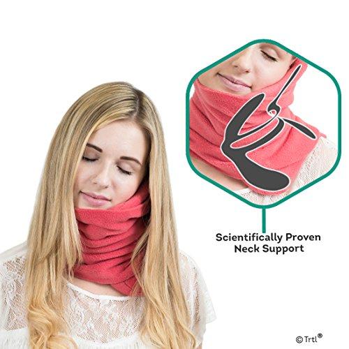 Trtl Pillow - Scientifically Proven Super Soft Neck Support Travel Pillow - Machine Washable - Coral