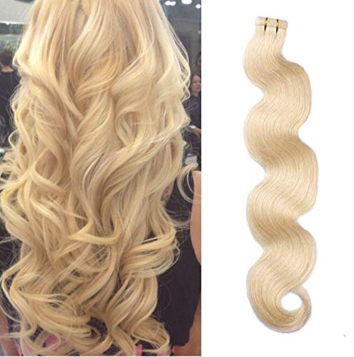 Tape in Hair #613 Blonde Body Wavy Human Hair Extensions Soft Silky Seamless Curly Remy Hair Seamless Skin Weft Hair Extensions 20inches 50g 20pcs/pack Glue in Extensions ()