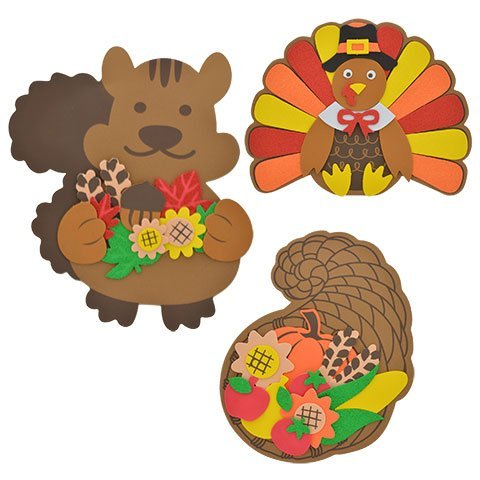 Home Harvest Decor Autumn Fall Decoration Decorations Leaves Autumn Foam Craft Kits Squirrel Turkey Cornucopia BUNDLE OF (Halloween Coloring Pages Cut Outs)