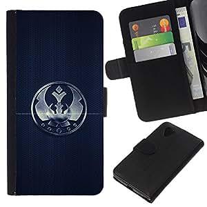 KLONGSHOP // Tirón de la caja Cartera de cuero con ranuras para tarjetas - Corona sesión Insignia Marcos simple Negro Emblema - LG Nexus 5 D820 D821 //