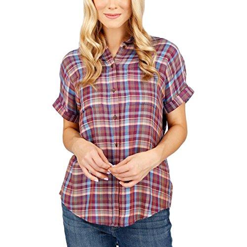 Lucky Brand Womens Twill Plaid Button-Down Top Multi XXL (Womens Short Sleeve Twill Shirt)