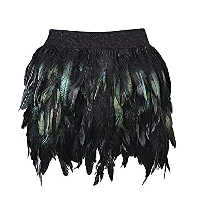 Miuco Womens Faux Feather A Line Mini Skirt