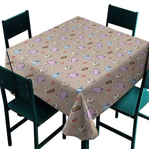 Sunnyhome Anti-Fading Tablecloths Tea Party Coffee Bean Kettles and Cupcakes with Heart Frosting on Polka Dotted Background Great for Buffet Table, Parties& More 36x36 Inch Multicolor