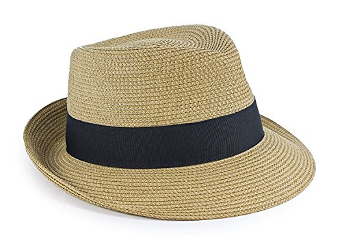 Eric Javits Luxury Designer Women's Headwear Hat - Squishee Classic - Natural/Black