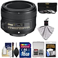 Nikon 50mm f/1.8 G AF-S Nikkor Lens with 16GB SD Card + 3 UV/CPL/ND8 Filters Kit for D3200, D3300, D5300, D5500, D7100, D7200, D750, D810 Cameras