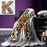 Anniutwo Letter K Blanket Alphabet Letter Gaming Balls Popular Sports Fun Initial Monogram Design Digital Printing Blanket 60''x36'' Multicolor