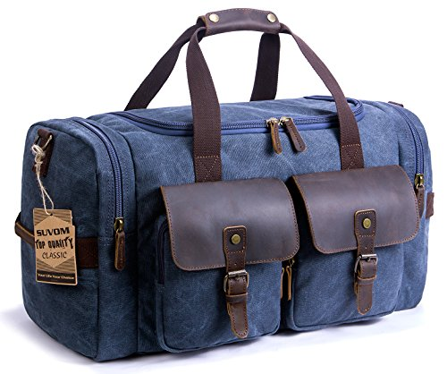 SUVOM Canvas Duffel Bag Leather Shoulder Weekend Bag Carry On Travel Tote Duffel Bag Luggage Oversized Holdalls for Men and Women(Blue)