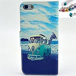 ZXC The Bus Pattern PU Leather Full Body Case with Card Slot and Stand for iPhone 5/5S