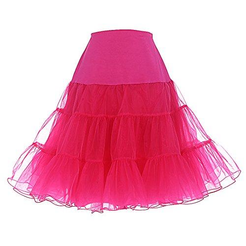 DRESSTELLS Women's Vintage Rockabilly Petticoat Skirt Tutu 1950s Underskirt Rose S