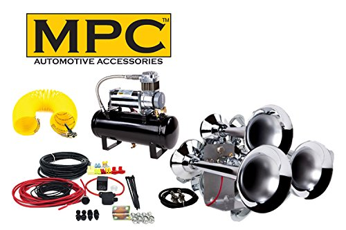 Train Air Horn Kit for Trucks & Cars: Complete Package Includes 3 Huge Chrome Trumpets, 12 Volt All-In-One Heavy Duty 150 PSI Air Compressor & Tank System, Wiring Install Kit. Bonus Inflation Kit!