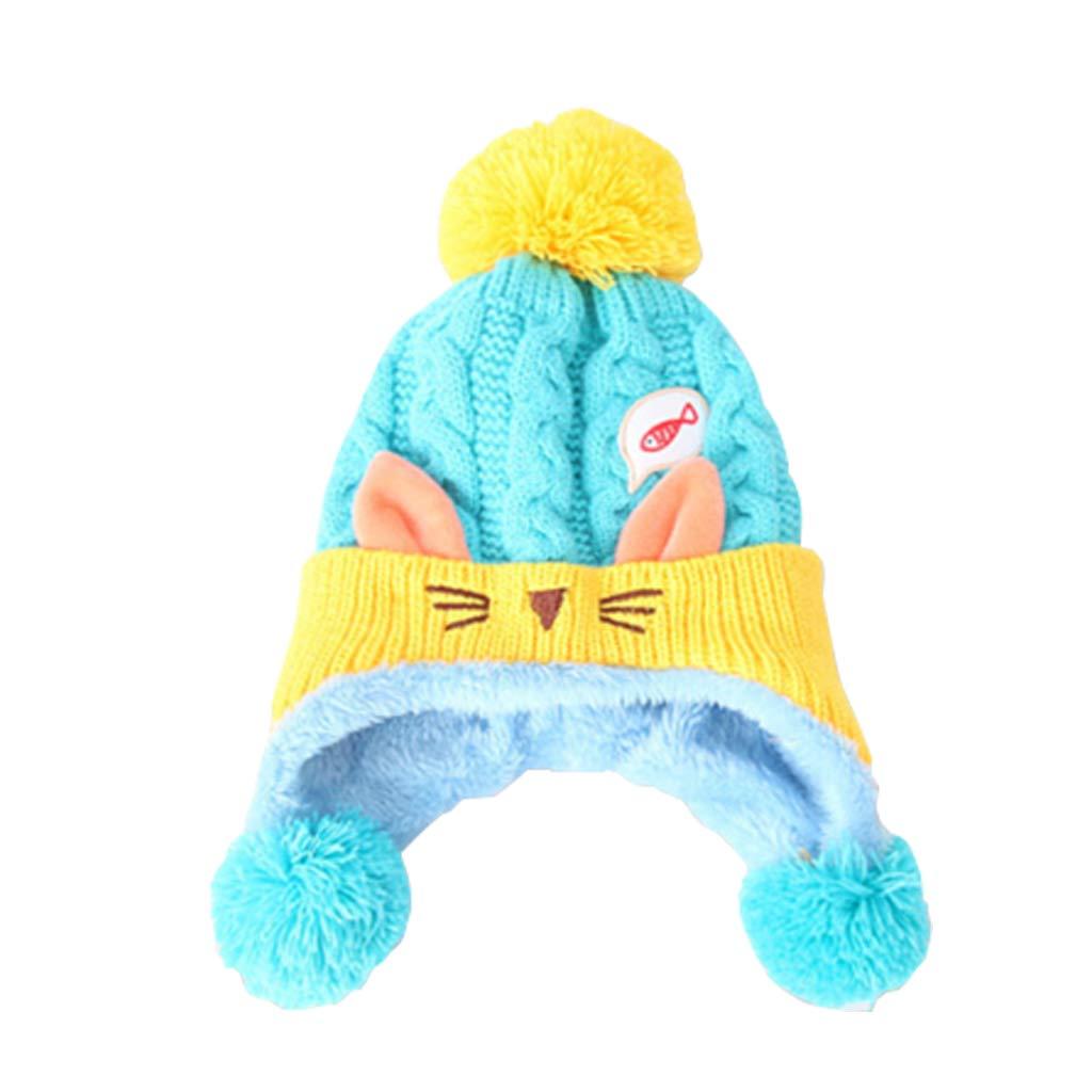 Gogokids Baby Boys Girls Winter Earflap Beanie Hat Knitted Pompom Cap Dark Blue SDW Trading Co. LTD