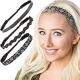 Hipsy 3pk Women's Adjustable NO SLIP Running Black Headband Gift Pack