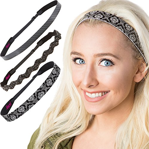 (Hipsy Cute Fashion Adjustable No Slip Hairband Headbands for Women Girls & Teens (Running Black Headband 3pk) )
