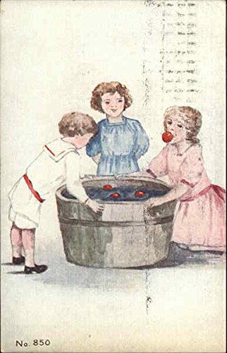 Bobbing for Apples Halloween Original Vintage Postcard ()