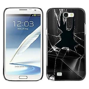 Qstar Arte & diseño plástico duro Fundas Cover Cubre Hard Case Cover para SAMSUNG Galaxy Note 2 II / N7100 ( Broken Glass Window Prank Black White)