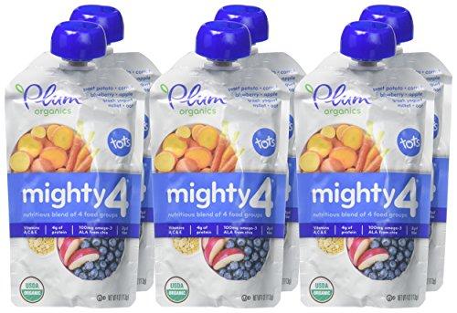 Plum Organics Tots Mighty 4 Toddler Food, Sweet Potato, Carrot, Blueberry, Apple, Greek Yogurt, Millet and Oat, 4 Ounce-6 count by Plum Organics (Image #1)