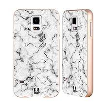 Head Case Designs White Marble Prints Gold Aluminum Bumper Slider Case for Samsung Galaxy S5 / S5 Neo