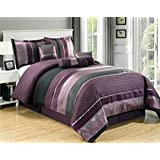 "7 Piece Oversize Eggplant Purple / Black silver stripe Chenille Comforter set 94"" X 90"" Queen Size Bedding"
