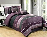 Purple and Black Comforter Set 7 PC Modern PURPLE BLACK SILVER Chenille Comforter Set - QUEEN SIZE BEDDING