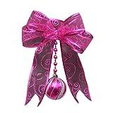 Saitingdianzi Christmas Tree Decoration Pendant Colorful Mesh Bow Gauze Ribbon Small Home Window Decor (Hot Pink,Free Size)
