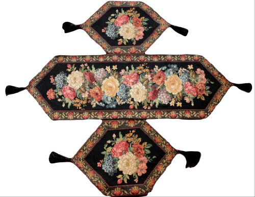 Tache 3 Piece Black Floral Woven Tapestry Midnight Awakenings Table Runner Set ()