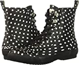 Rocket Dog Women's Rainy/Rubber W/Off White DOT Printed Rain Boot, Black, 7 Medium US