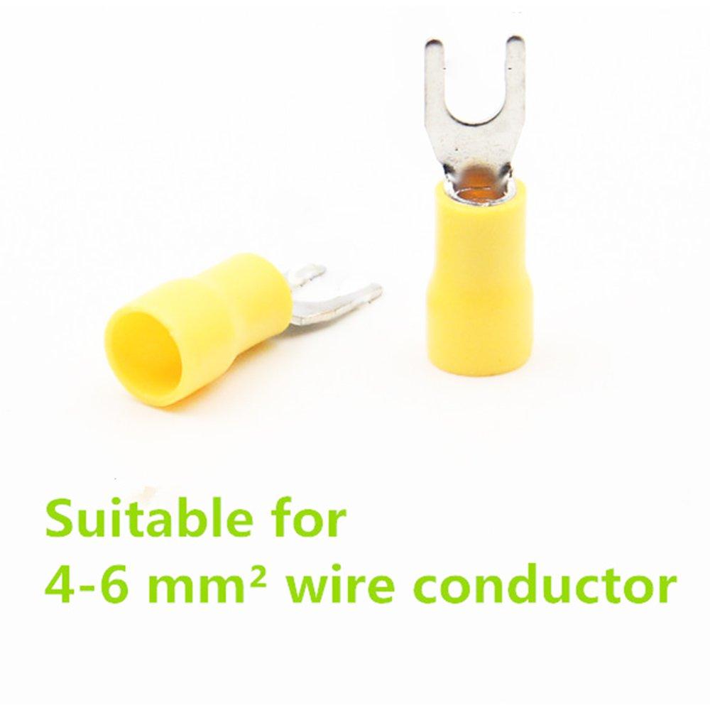 Wiwaplex SV5.5-5 Pre Insulated Fork Terminal Spade Terminal Connector 12-10 AWG #10 50Pcs Yellow