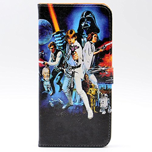 iphone 7 Plus Case Unique A New Hope Characters Vintage Pattern Leather Wallet Credit Card Holder Pouch Flip Stand Case Cover For Apple iphone 7 Plus (Star Wars Case)